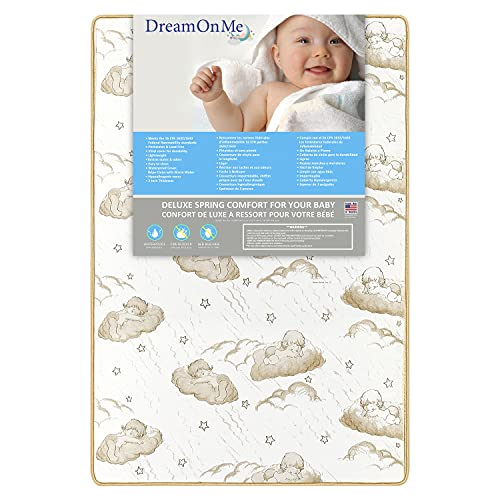 Dream On Me 2-In-1 Breathable Two-Sided Pocket Coil Portable Crib Mattress, White
