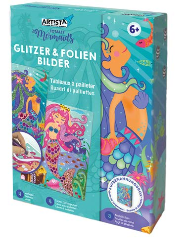 ARTISTA 9301901 Bastelset Glitzer & Folien Bilder, DIY-Kit für Kinder, Kreativset in praktischer Aufbewahrungsbox