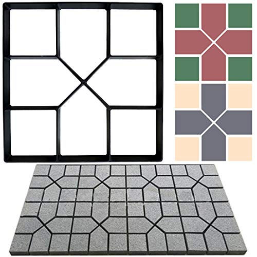 Garden Pavement Mold Walk Path Maker Mould Paving Molds Reusable Stamped Concrete Cement Stepping Stone Lawn Patio Yard DIY Walkway Pavement for Lawn & Garden