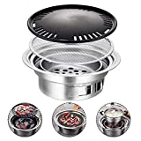 Leiyini Portable BBQ Barbecue Charcoal Grill, Grill Plate for Garden, Stainless Steel Reusable Japanese Korean Style Yakiniku Grill for Outdoor Garden Party Beach 13.78x9.25x4.72in