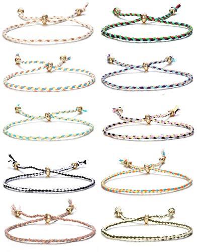 YADOCA 10 Pcs Bracelet Amitié pour Femme Filles Enfants Lot Bracelets Coton Tressé Braided Wrap Multicolore Chaîne Ensemble Bracelet Ensemble Bracelet