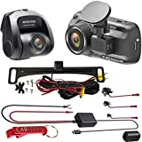 Kenwood DRV-A501WDP Dual Dash Cam Car Security Bundle with Hardwire Kit and Voxx HD Backup Camera. Front and Rear Dashcams with Wi-Fi Run While Driving Or Car is Turned Off and Parked.