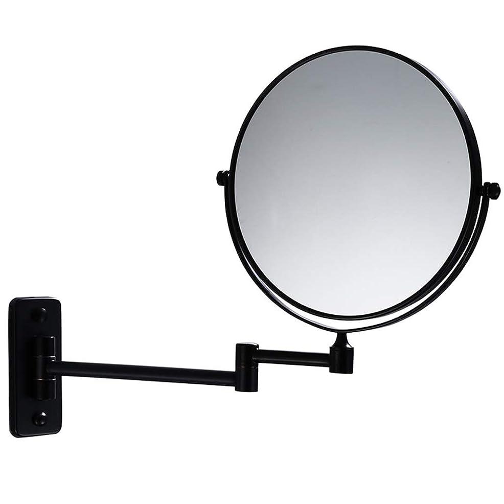 カーフ明らかに聖域化粧鏡バスルーム シンプルなバスルーム美容ミラー壁掛け黒8インチ化粧鏡伸縮折りたたみ3倍虫眼鏡 (色 : ブラック, サイズ さいず : 8 inches 3X)