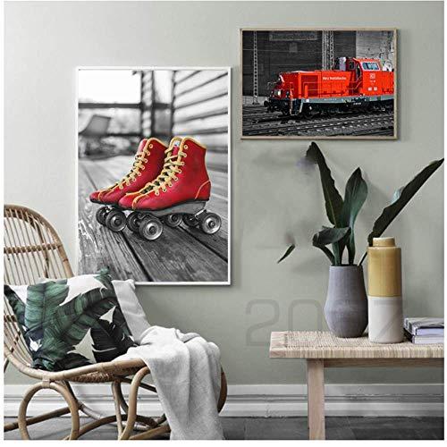 RuiChuangKeJi Straße Wandkunst Leinwand Malerei Rollschuhbahn Nordic Poster Und Drucke Wandbilder Für Wohnzimmer Decor 2x50x70 cm Kein Rahmen