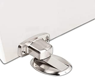 GGIENRUI Magnetic Door Stopper Steel Door Stop Magnetic Heavy Duty Door Holder with 3M Self Adhesive and Conceal Screw Mount, 1pcs, Silver