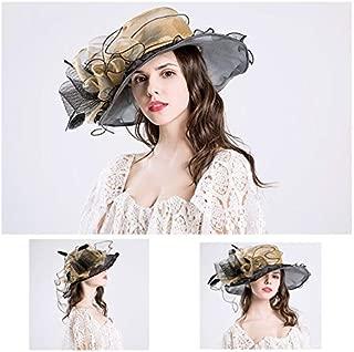 HBEI Summer Big Sun Edge Hats Women Big Flower Feather Organza Fashion Women Sun Hat UV Protection Beach Wedding Cape (Blue)