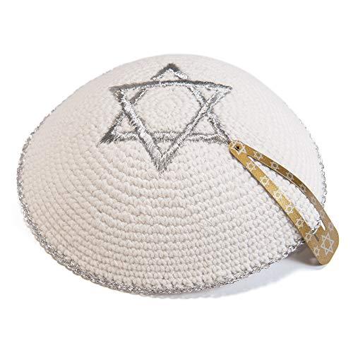 JL Kippha's 17cm Weiß Strick Silber gestickte Magen David Kippah jüdische Kipa für Synagoge