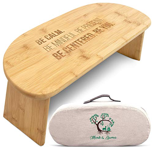 Monk & Llama Kneeling Meditation Bench with Foldable Legs & Cushion — Perfect Kneeling Stool Ergonomic Bamboo Yoga Bench for Extended Practice - Includes Carrying Bag & Meditation Journal