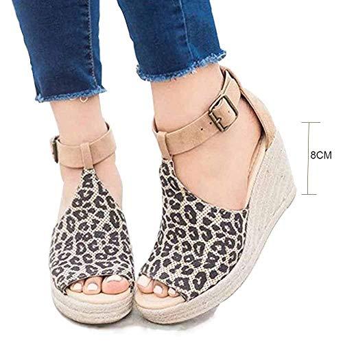 Sandals dames zomer wedge espadrilles elegant wighak plateau enkelriem gesp wigsandalen plat leer Peep Toe Comfortabele casual schoenen 8 cm hoge hak luipaard