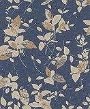 rasch Tapete 402544 aus der Kollektion Uptown – Vliestapete in Dunkelblau mit beigen, floralen Mustern – 10,05m x 53cm (L x B)