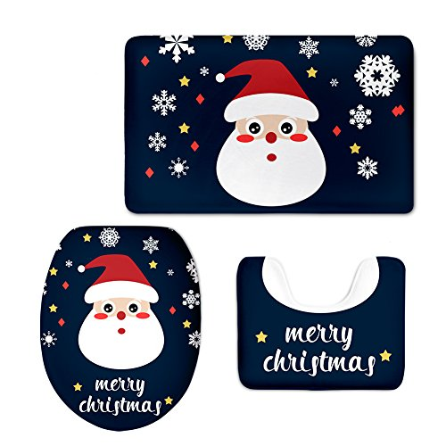 Merry Christmas Santa with Snowflake Bathroom Rug Set