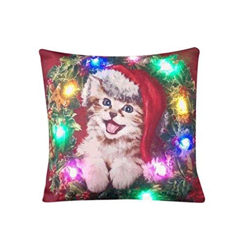 ronamick Navidad iluminación LED almohada Home Decor lanzar almohada sofá HOTcraze-DE, c,...