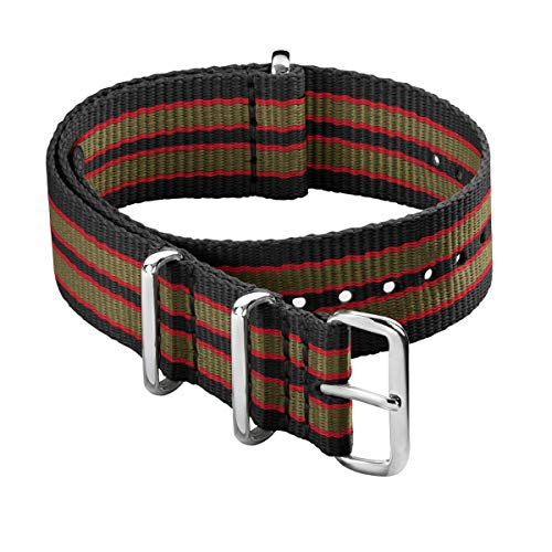 Archer Watch Straps - Cinturini NATO in Nylon - Nero, Rosso e Verde (Vintage Bond), 18mm