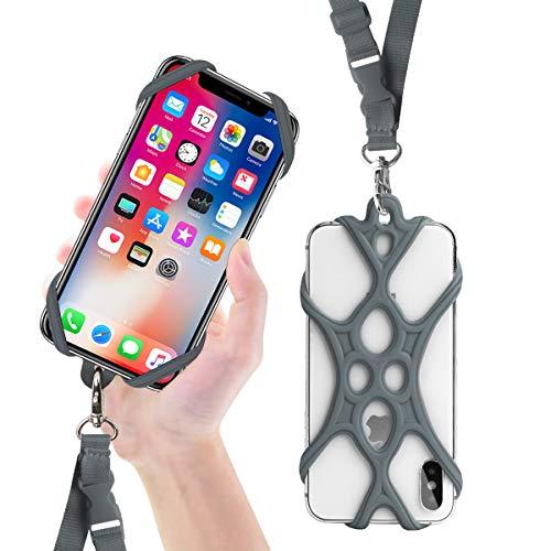 ROCONTRIP Handy Smartphone Handy Lanyard Strap, Universal Fall Abdeckung Halter Lanyard Halskette Handschlaufe mit ID Card Slot für iPhone X 8 7 6 S 6 Plus Galaxy S7 S6 Huawei P10 P9 (Grau)