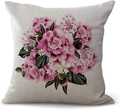 giyiohok Fundas de cojín de estilo nórdico, diseño de flores, color blanco, rosa y rosa, algodón, 18 x 18 cm, 45 x 45 cm, sábana de algodón 08 – 01