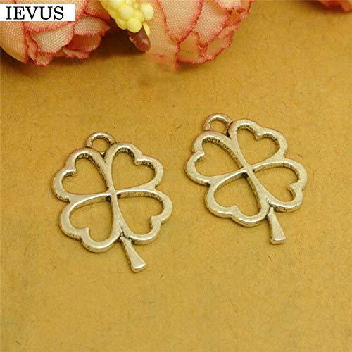8 unids/lote 17 mm * 24 mm chapado en plata antigua trébol de cuatro hojas encanto hoja pulsera conector fabricación de joyas