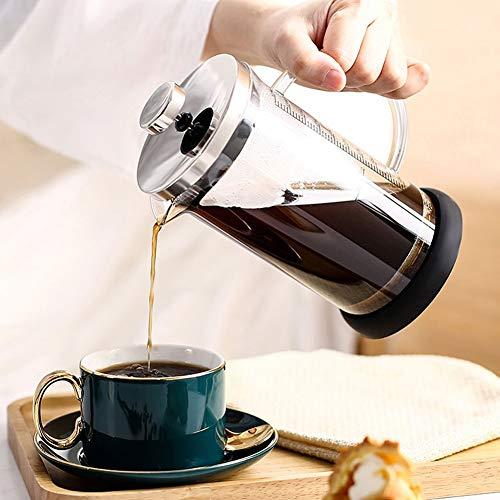 Jarras de café Cafetera Cafetera de acero inoxidable Cafetiere Jarra de vidrio, filtro de émbolo de café de acero inoxidable, Filtro de cobre de café manual, Pulsación de café, 350 ml / 600ml [Clase d