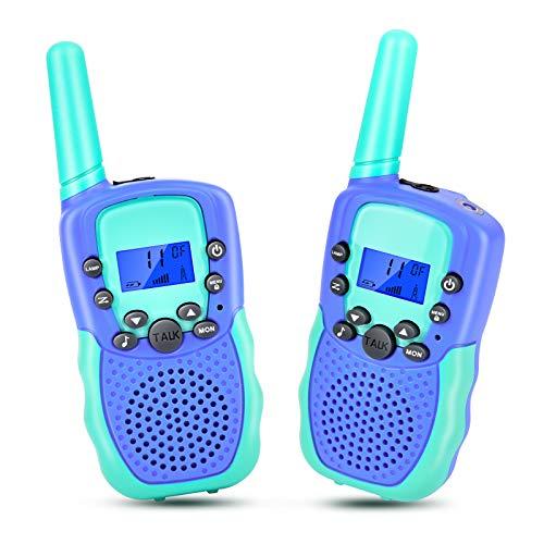 Walkie Talkies para niños, T-388 Walkie Talkie Niños Walkie Talkie con linterna, juguete y regalo para niños, dispositivos inalámbricos para aventuras al aire libre, camping, senderismo