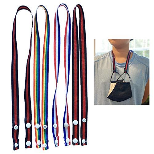 Cordão M.a.s.k para suporte de Madks com botão de pressão, 4 peças, cordões para crianças adultos, alça de pescoço prática, corrente para pendurar, confortável ao redor do descanso do pescoço
