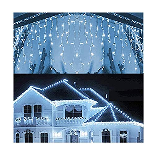 Hezbjiti 8 Modes LED Icicle Lights, 96 LED 18 Drops 9 FT Fairy String Lights Plug in Extendable Curtain Light String Christmas Lights for Bedroom Patio Yard Garden Wedding Party (Cold White)
