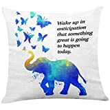 Yuzi-n Love Quotes Elephant Butterfly Pillow Covers for Home/Living Room/Bedroom Decor,Throw Pillow Covers with Love Sayings Gifts for Wedding Valentines Day Men Women 18 x 18 Inch