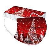GJKK 20 PC Erwachsene Einmal Mund Und Nasenschutz Weihnachtsmotiv Bandanas 3-lagig Atmungsaktiv Outdoor Accessory mit Weihnachten Motiv Lustige Halstuch