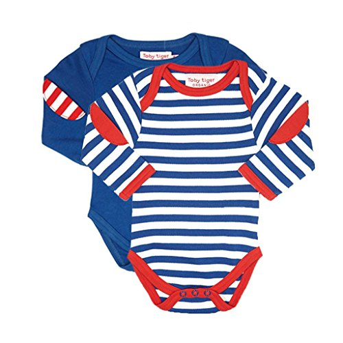 Toby Tiger Organic Cotton Breton Stripe Long Sleeved Baby T-Shirt 2-Pack - Pyjama - Bébé garçon, Bleu, 0-3 mois