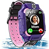 Kids Waterproof Smart Watch GPS/LBS Tracker for 3-12 Years Boys Girls Smart Watch Phone with SOS Two Way Call Micro Chat Camera Anti-Lost Math Game Touch Screen Games Flashlight Birthday Gifts