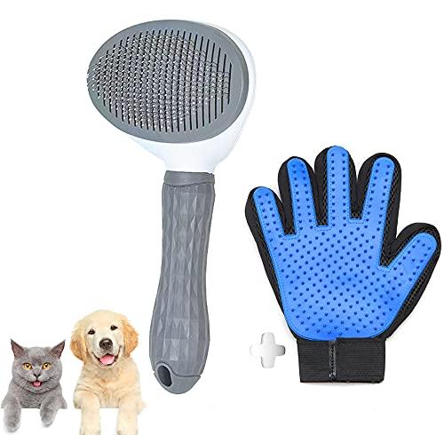DASHH Guanto + Spazzola per Cani e Gatti, Pettine e Autopulente Toelettatura per Animali Domestici, Togliere Eccessi e Morti Peli Animali.