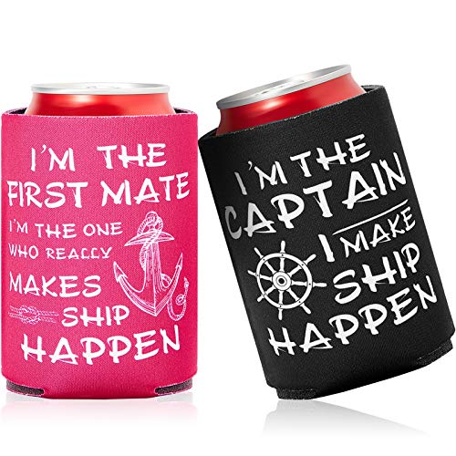 12 Piezas Funda de Enfriador de Botella de Vela Náutica Funda de Lata de Cerveza Regalos de First Mate Ship Happen Nautical, Negro y Rojo Rosado