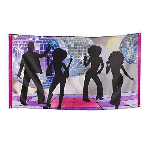 Boland 00738 - Fahne Disco Fever, Größe 150 x 90 cm, Material Polyester, 70er Jahre, Banner, Dekoration, Mottoparty, Karneval