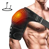 Heated Shoulder Brace Far Infrared Heating Shoulder Pad 3 Heating Mode with Hot&Cold Therapy Support for Muscle Pain Relief Frozen Shoulder Bursitis Tendonitis Rotator Cuff (Didn't Come with Battery)