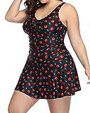 Aqua Eve Plus Size One Piece Swimdress Women Swimsuit Bowknot Skirtini Tummy Control Bathing Suits Red 20W
