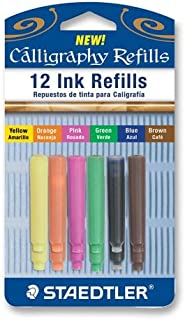 Staedtler Caligraphy Pen Refill Cartridges, 12 Assorted Colors (899RASBK12)