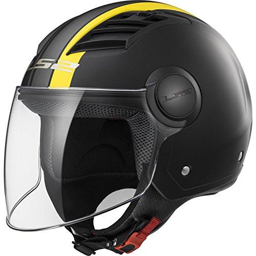 LS2 Casco Moto Of562 Airflow Metropolis, Matt Black/Yellow Long, L