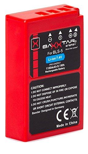 Baxxtar Pro Batería Compatible con Olympus BLS-50 BLS-5 (1100mAh / infochip/Nueva generación) Stylus 1 1s Pen E-PL5 E-PL6 E-PL7 E-PL8 E-PL9 E-PL10 E-P3 E-PM1 E-PM2 - E-M5 III E-M10 II III IV