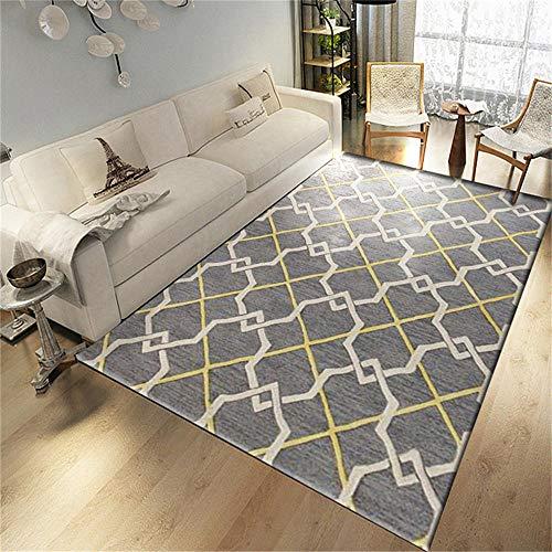 WQ-BBB Habitacións Alfombraes Absorbente Diseño a Cuadros Gris y Amarillo. Alfombra Infantil 120X160cm