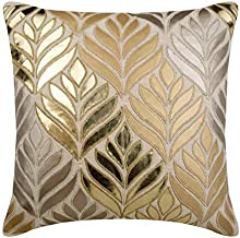 Decorative Gold Handmade Pillowcases 40x40 cm, Faux Leather Couch Cushion Covers, Nature & Floral, Maple Leaf, Applique, M...
