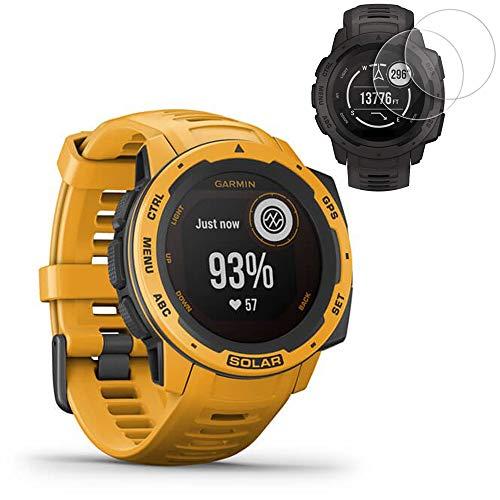 Garmin Instinct Solar GPS Smartwatch - Sunburst (010-02293-19) w/ 2X Screen Protectors