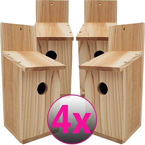 Set x4 casitas para pájaros Basic 30 x 14 x 12 cm (Alto x Profundo x Largo) - Nidos para pájaros de madera de conífera para aves pequeñas, estable y resistente a la intemperie