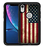 Teleskins Protective Designer Vinyl Skin Decals/Stickers Compatible with Otterbox Commuter iPhone Xr Case -Grunge USA American Flag Design Patterns - only Skins and not Case