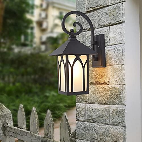 YBright Lintura de la luz de la pared al aire libre rústico Linterna de la linterna de la linterna de la lámpara de la pared del vidrio helada impermeable a prueba de agua de la lámpara E27 del zócalo