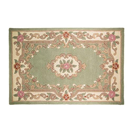 Tapis de sol à motif floral traditionnel d'Aubusson à lotus par Flair Rugs, 100 % laine, Green, 60 x 120 cm