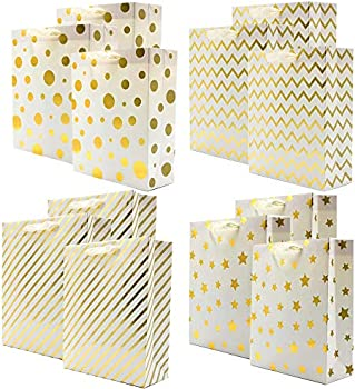 12-Piece Uniqooo Premium Assorted Gold Foil Metallic Gift Bags