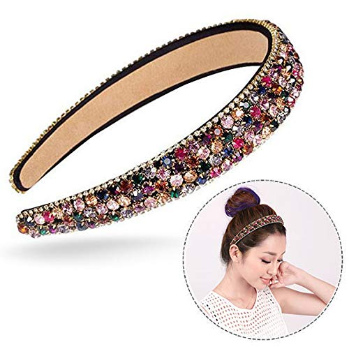 Xrten Dames-haarband met strass, fashion elastische kristallen haarband voor bruiloft, feest