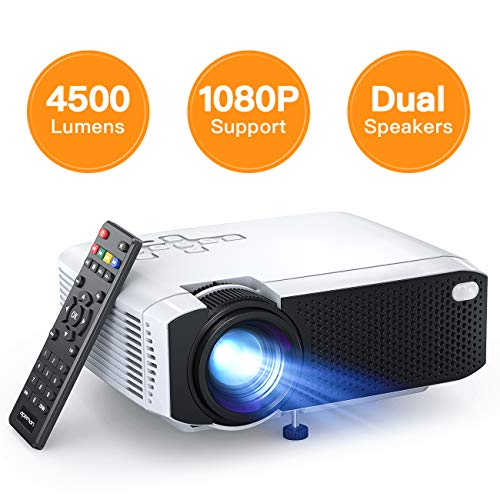 "APEMAN LC350 Mini Projector, 4500L Brightness, Support 1080P 180"" Display, Portable Movie Projector, 55,000Hrs LED Life and Compatible with TV Stick, PS4, HDMI, TF, AV, USB for Home Entertainment"