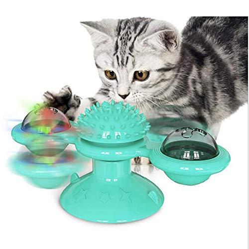 Juguete para gatos Flow.mes, cepillo de auto aseo con molino de viento giratorio, tocadiscos, juguete para arañar cosquillas, gatos, cepillo divertido para gatos, juguete para gatos.