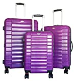 3 Pc Luggage Set Suitcase Hardside Rolling 4 Wheel Spinner Upright CarryOn Travel Purple