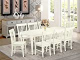 9 PC kitchen tables and chair set with one Dover dining table and 8 kitchen chairs in a Linen White Finish