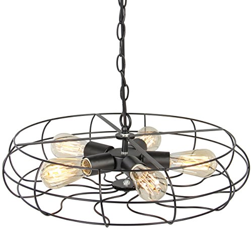 Best Choice Products Industrial Vintage Metal Hanging Ceiling Chandelier Lighting w/ 5 Lights -Black